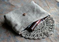 Embrague de lino bolsa bolso bolsa de maquillaje por namolio