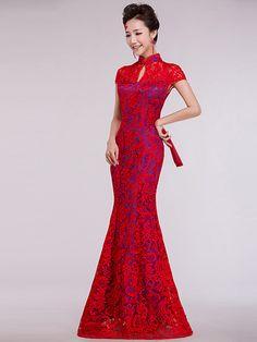 Floor Length Cheongsam / Qipao / Chinese Wedding Dress with Red Lace Overylay