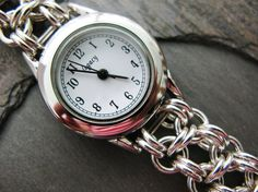 Handmade sterling silver chain maille watch by kcsterlingstudio, $110.00