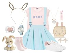 """""""Baby Bunny"""" by lilcuriosity ❤ liked on Polyvore featuring Forever 21, Minna Parikka, Johnny Loves Rosie, Accessorize, Precious Moments, Komono, Tony Moly, little, ddlg and cgl"""