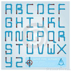 Water Pipe Alphabet Font Character