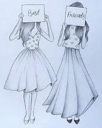Pencil Drawings Of Girls, Disney Drawings Sketches, Girl Drawing Sketches, Girly Drawings, Art Drawings Sketches Simple, Cartoon Drawings, Friends Sketch, Best Friend Drawings, Pinturas Disney