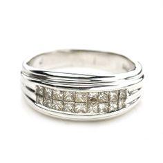 14K White Gold Men's 1.0 CTTW Diamond Wedding Ring $900