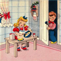Baking For The One You Love 1940s Greetings by poshtottydesignz