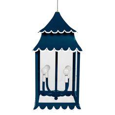 girly-lantern  looks so cute hanging in your entry? or powder room? Hand wrought iron with glass and fun scallops picked out in white. Available in any of our Benjamin Moore low VOC paint colors. Handmade in Mexico. Takes 4 chandelier size bulbs, 40 watt max per bulb. Comes with 3 feet of clear cord and white chain.  $950