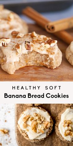 Soft, healthy banana cookies topped with a cream cheese frosting! These gluten free banana cookies taste like a slice of your favorite banana bread. Healthy Sweets, Healthy Dessert Recipes, Healthy Baking, Baking Recipes, Healthy Food, Healthy Desserts With Bananas, Desserts With Almond Flour, Healthy Banana Cookies, Healthy Drinks
