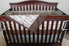 Brown Cowboy, Brown Minky, and Village Blue Chevron Crib Bedding Ensemble. $155. Buy on Etsy