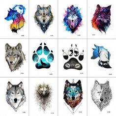 WYUEN 12 PCS/lot Wolf Temporary Tattoo Sticker for Women Men Fashion Body Art Adults Waterproof Hand Fake Tatoo * Find out more about the great product at the image link. (This is an affiliate link) Lone Wolf Tattoo, Wolf Tattoo Back, Small Wolf Tattoo, Wolf Tattoo Sleeve, Tribal Wolf Tattoos, Tattoo Spine, Howling Wolf Tattoo, Geometric Wolf Tattoo, 7 Tattoo
