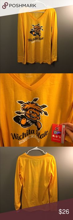 🆕 Wichita State Shockers V-neck T-Shirt NWT NCAA Brand new with tags! Thank you for looking! NCAA Tops Tees - Long Sleeve