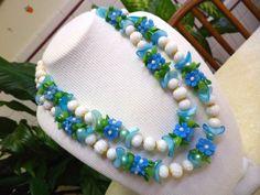 """Vintage """"Fruit Salad"""" 2 Strand Flower Beaded Celluloid Early Plastic Necklace #StrandString"""