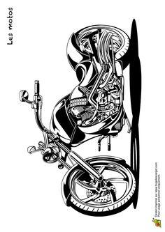 Une moto stylée et puissante à colorier