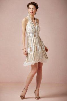 Ranna Gill nude metallic Twila Halter Dress   BHLDN
