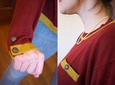 mustard and wine boyfriend sweater with details