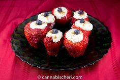 Stuffed Strawberries: almost like a strawberry stuffed with cheesecake, this fruity finger food recipe is always a crowd pleaser (see recipe below) [Cannabis Cheri]