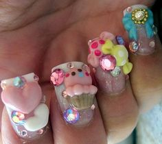 9 Best Kawaii Nail Art Designs: Kawaii deco nails with hearts, ice creams , bows and rhinestones: