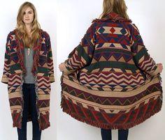 Vtg 80s Tribal Fringe Cotton Southwestern Oversized Indian Blanket Jacket M L | eBay