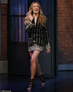 Pins on parade: Cat Deeley certainly looked runway ready as she made an appearance on Late Night With Seth Meyers in New York on Thursday evening