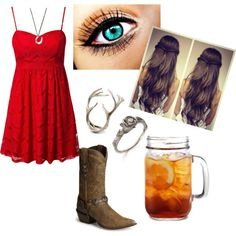 """Somethin' 'Bout A Girl In A Red Sundress"" by christina-marie-miller on Polyvore"