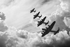 Black and white retro image of Lancaster bombers from Battle of Britain in World War Two - stock photo Lancaster Bomber, Removable Wall Murals, Retro Images, Alternate History, Battle Of Britain, Modern History, Greek History, History Books, History Memes