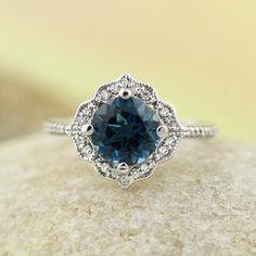 Etsy AAA London Blue Topaz Engagement Ring Diamond Wedding Ring Vintage Floral Ring In 14k White Gold Gem #affiliatelink