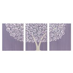Large Nursery Wall Art - Purple Tree Painting on Triptych Canvas - 50X20 - MADE TO ORDER