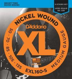 D'addario EXL160-5 Nickel Wound Medium Guage Electric Bass Strings, Long Scale