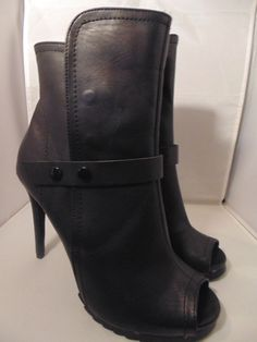 ff5f3c9d25f2 Beau+Ashe Womens Booties Heel Ankle Boots Size 10 Peep Toe Black