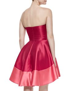 Black Halo Clarkson Strapless Colorblock Dress, Cerise/Coral