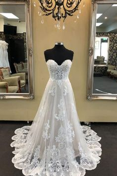 Custom Made Easy Long Prom Dress White Sweetheart Neck Tulle Lace Long Wedding Dress, Lace Prom Dress Wedding Dress Tea Length, White Lace Wedding Dress, Long Wedding Dresses, Perfect Wedding Dress, Bridal Dresses, Wedding Gowns, Wedding White, Wedding Frocks, Modest Wedding