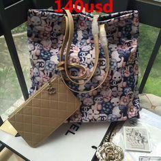 Chanel large tote printed fabric silver metal-navy blue gray gold handbag  size:41x9x38cm 0480CH7 whatsapp:+8615503787453