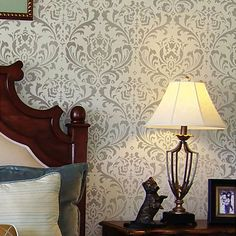 Anna Damask Stencil $49.95 Would love this in gloss over matte for a subtle pattern in a dining room.