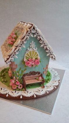 GINGERBREAD HOUSE~ BLUE WITH BENCH GINGERBREAD HOUSE. (99) Одноклассники