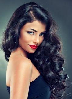 wavy curls - old hollywood curls ❇Kim Wouters❇ Wedding Hair And Makeup, Hair Makeup, Makeup Hairstyle, Hair Wedding, Wedding Engagement, Clip In Hair Extensions, Big Hair, Hair Dos, Remy Hair