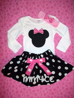 Minnie Mouse outfit  princess Dress first 1st Birthday Pink Skirt onesie disney baby Girl Size Newborn 3 6 9 12 18 24 m 3T 4T 5 toddler on Etsy, $29.50