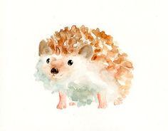Hedgehog Original watercolor painting by dimdi