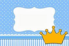 Coroa Príncipe – Kit Completo com molduras para convites, rótulos para guloseimas, lembrancinhas e imagens!  Fazendo a Nossa Festa