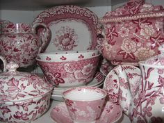 Red transferware chintz patterns