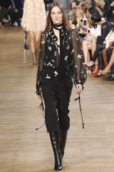 d355c1f0750 Chloé - Fall 2015 Ready-to-Wear - Capri Pants with High Boots   Sheer  Floral Embroidered Blouse - Look 35 of 44