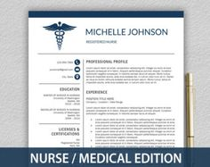 Nurse Resume Template For Word U0026 Pages / Medical Resume, Nurse CV, Doctor  Resume, RN Resume, Doctor CV | Instant Download Resume Template