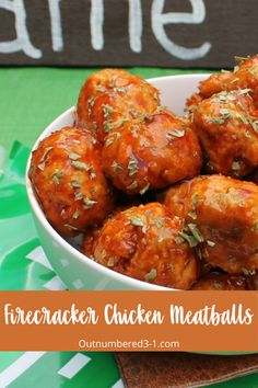 Hotter than buffalo chicken meatballs, these ground chicken meatballs firecracker chicken meatballs are a super spicy baked chicken meatballs for parties. Spicy Baked Chicken, Chicken Meatball Recipes, Tandoori Chicken, Ground Chicken Meatballs, Firecracker Chicken, Spicy Recipes, Recipe Collection, Parties, Favorite Recipes