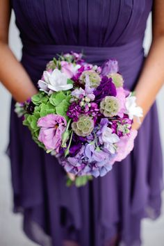 GH Kim Photography ; A Regal Purple Themed Seattle Wedding From GH Kim Photography - bridesmaid bouquet