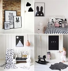 Playful black and white posters and decor for kids bedrooms