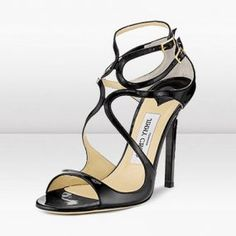 Lance Leather Sandal by Jimmy Choo at Gilt Strappy Sandals, Leather Sandals, Patent Leather, Wedding Guest Shoes, Cheap Christian Louboutin, Evening Sandals, Glitter Fabric, Fall Shoes, Luxury Shoes