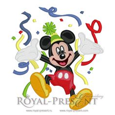 Machine Embroidery Design - Happy Mickey Mouse (2 in 1), $3.25
