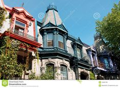 Photo about Colorful victorian houses in Montreal - 19665780