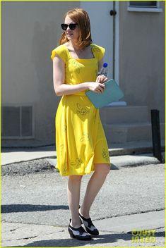Emma Stone Continues Filming 'La La Land' in Los Angeles!