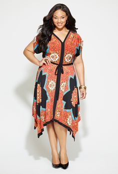 Oh I love thos dress! And the model has a gorgeous face Sheesh. Plus Size Belted Handkerchief Print Dress Urban Fashion Women, Plus Size Fashion For Women, Plus Size Women, Plus Fashion, Fashion News, Plus Size Clothing Stores, Plus Size Belts, Dress Plus Size, Plus Size Outfits