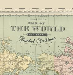 custom vintage map of the world pushpin map