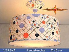 """Lampen Set """"Verena"""". Leuchte VERENA, Ø 45 cm, Pendellampe mit Lichtrand und Baldachin in origninalem Retrostoff der 70er Jahre mit einer besonderen Punkte Grafik. Die Leuchte erzeugt so eine sachliche und doch verspielte Atmoshäre im Raum."""