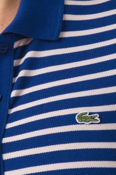 #Lacoste Short Sleeve Stretch 5 Button #Stripe #Polo